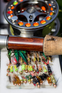 fly fishing bugs and road with realの写真素材 [FYI00765226]