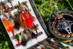 fly fishing bugs and road with realの写真素材 [FYI00765228]