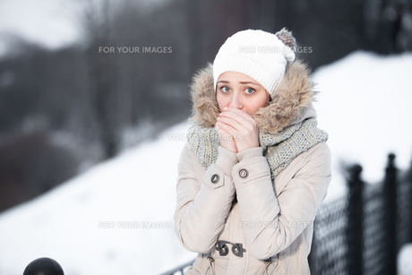 Attractive young woman in wintertime outdoor. Sunny weather. French style. Outdoor shot.の写真素材 [FYI00765345]