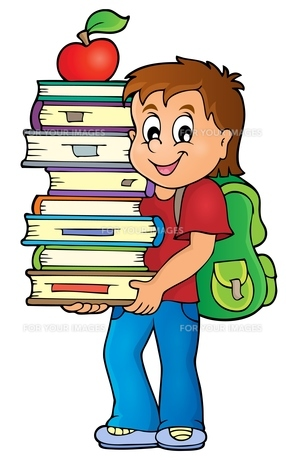Boy holding books theme image 1の素材 [FYI00765388]