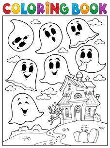 Coloring book ghost theme 4の写真素材 [FYI00765399]