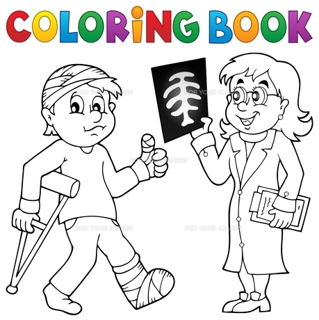 Coloring book doctor attending patientの素材 [FYI00765400]