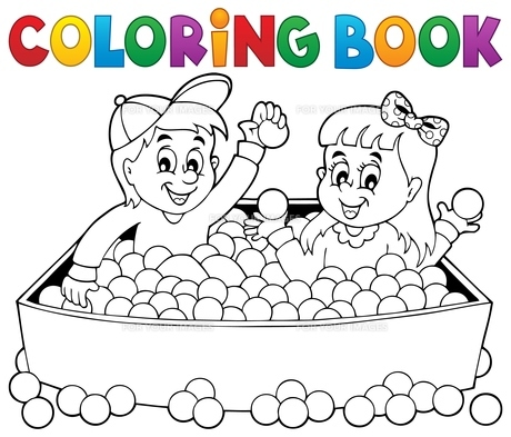 Coloring book happy playing childrenの素材 [FYI00765403]