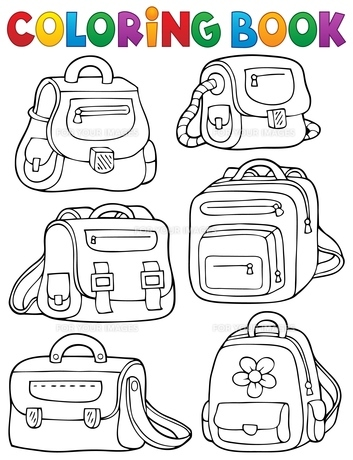 Coloring book school bags theme 1の写真素材 [FYI00765404]
