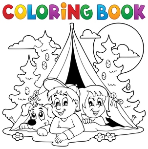 Coloring book kids camping in forestの素材 [FYI00765406]