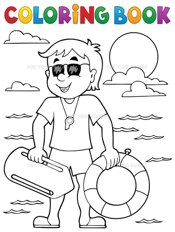 Coloring book life guard theme 1の素材 [FYI00765407]