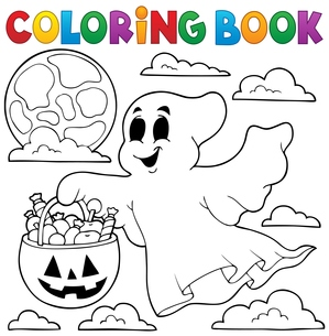 Coloring book ghost theme 3の写真素材 [FYI00765408]