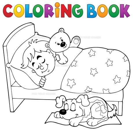 Coloring book sleeping child theme 2の素材 [FYI00765410]