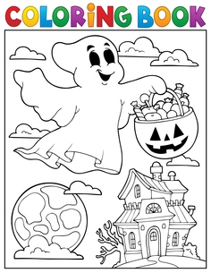 Coloring book ghost theme 5の素材 [FYI00765411]