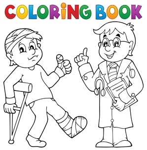 Coloring book with patient and doctorの写真素材 [FYI00765417]