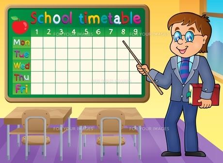 School timetable with man teacherの写真素材 [FYI00765487]