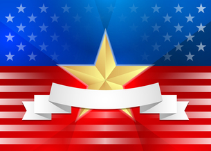 American flag with gold star and ribbonの写真素材 [FYI00765979]