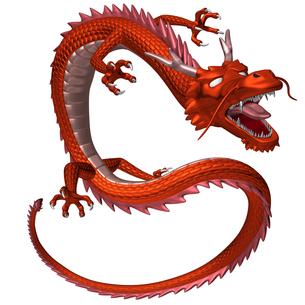 赤い龍 3Dイラストのイラスト素材 [FYI00766239]