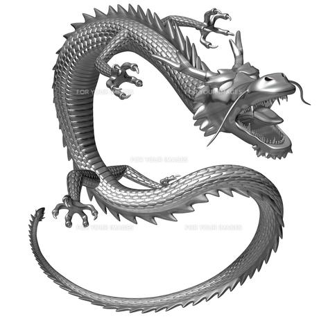 銀の龍 3Dイラストのイラスト素材 [FYI00766250]
