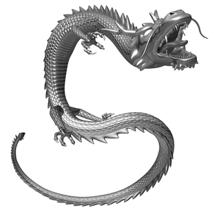 銀の龍 3Dイラストのイラスト素材 [FYI00766251]