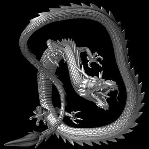 銀の龍 3Dイラストのイラスト素材 [FYI00766253]