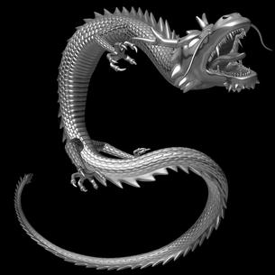 銀の龍 3Dイラストのイラスト素材 [FYI00766254]