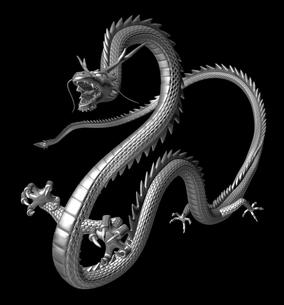 銀の龍 3Dイラストのイラスト素材 [FYI00766258]