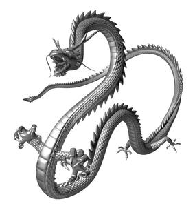 銀の龍 3Dイラストのイラスト素材 [FYI00766259]