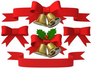 メリークリスマス ベル&リボンセットのイラスト素材 [FYI00766293]