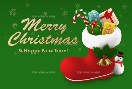 クリスマスカード 長靴プレゼントのイラスト素材 [FYI00766317]