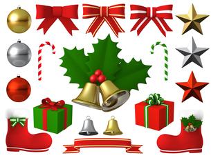 クリスマスベル ひいらぎ リボン セットのイラスト素材 [FYI00766324]