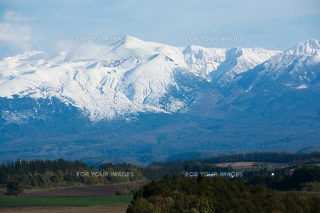 秋の丘陵地帯と冠雪の山並みの写真素材 [FYI00766346]