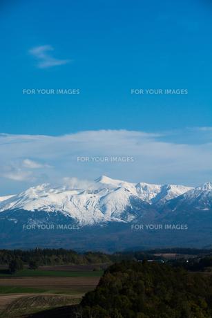 秋の丘陵地帯と冠雪の山並みの写真素材 [FYI00766353]