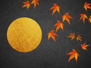 秋 満月と紅葉のイラスト素材 [FYI00766369]