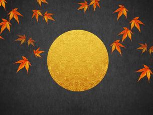 秋 満月と紅葉のイラスト素材 [FYI00766374]