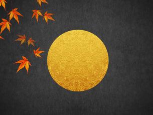 秋 満月と紅葉のイラスト素材 [FYI00766375]