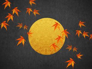 秋 満月と紅葉のイラスト素材 [FYI00766376]