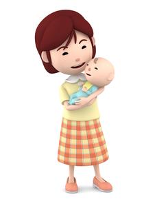 赤ちゃんを抱くママのイラスト素材 [FYI00766410]