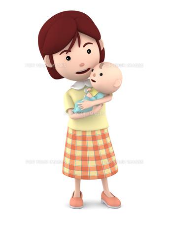 赤ちゃんを抱くママのイラスト素材 [FYI00766411]