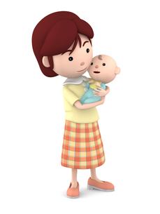 赤ちゃんを抱くママのイラスト素材 [FYI00766412]