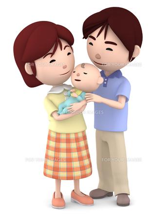赤ちゃんを抱くママと寄り添うパパのイラスト素材 [FYI00766413]