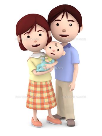 赤ちゃんを抱くママと寄り添うパパのイラスト素材 [FYI00766414]