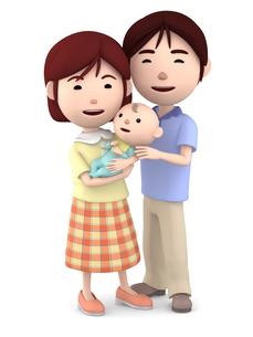 赤ちゃんを抱くママと寄り添うパパのイラスト素材 [FYI00766415]