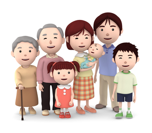 3世代家族のイラスト素材 [FYI00766609]