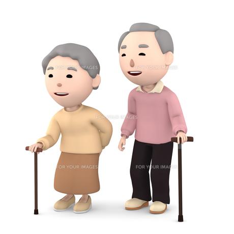 杖をつく 老夫婦のイラスト素材 [FYI00766611]