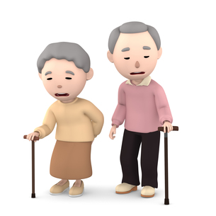 杖をつく 老夫婦のイラスト素材 [FYI00766612]