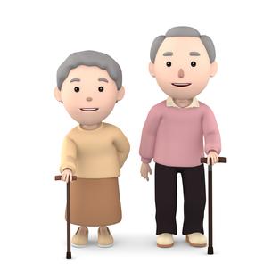 杖をつく 老夫婦のイラスト素材 [FYI00766613]