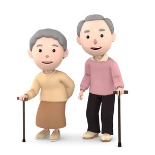 杖をつく 老夫婦のイラスト素材 [FYI00766615]
