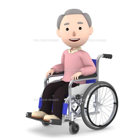 車いすのおじいさんのイラスト素材 [FYI00766625]