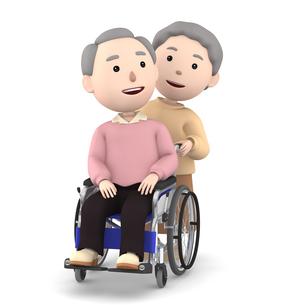 車いすのおじいさんと介助するおばあさんのイラスト素材 [FYI00766626]