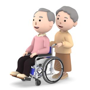 車いすのおじいさんと介助するおばあさんのイラスト素材 [FYI00766627]