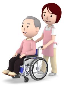 車いすのおじいさんと女性ヘルパーのイラスト素材 [FYI00766628]