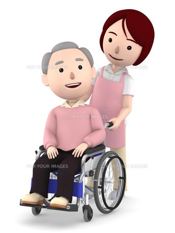 車いすのおじいさんと女性ヘルパーのイラスト素材 [FYI00766629]