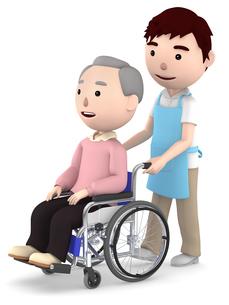 車いすのおじいさんと男性ヘルパーのイラスト素材 [FYI00766630]