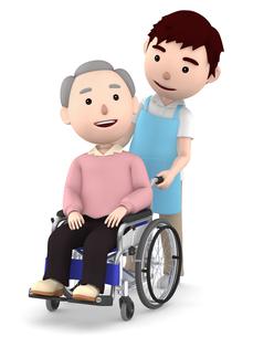 車いすのおじいさんと男性ヘルパーのイラスト素材 [FYI00766631]